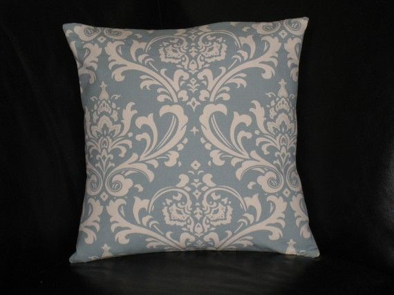 DAMASK pillows 18 inch Pillow Covers in spa blue & by beckorama, $25.00