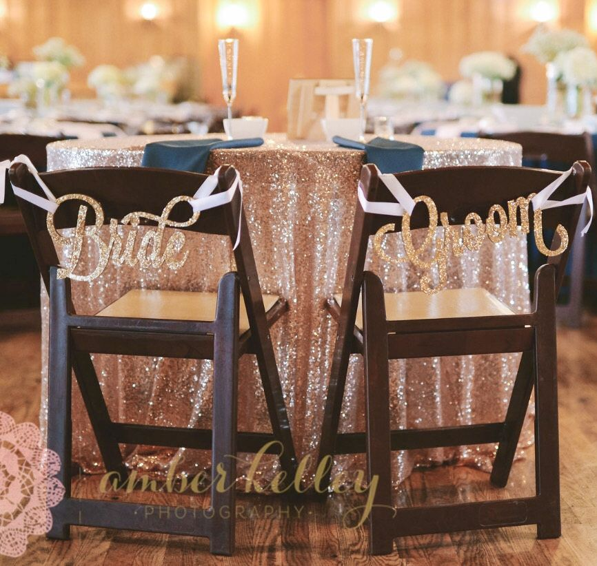 Bride And Groom Wedding Chair Signs For Sweetheart Table Decor