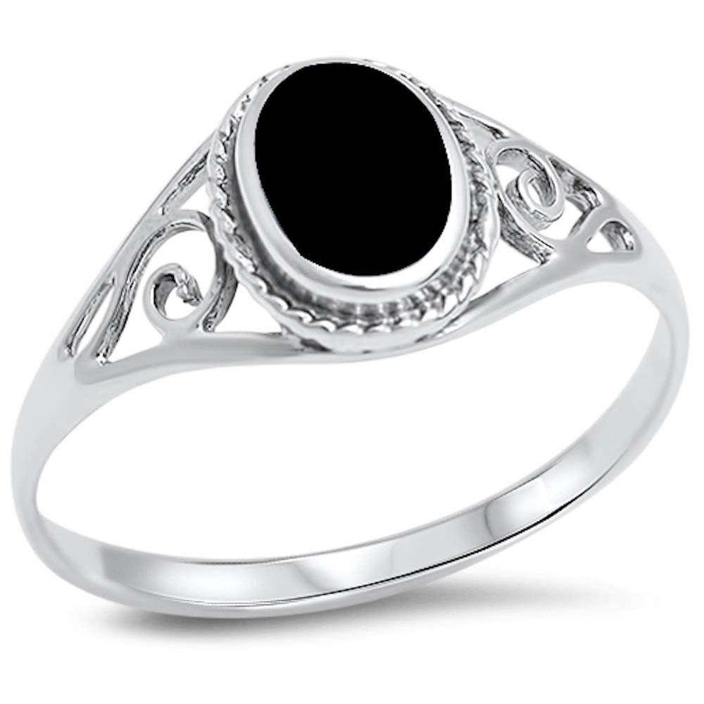 Oval Shape Black Onyx Filigree Swirl Split Shank Solitaire Simple Plain  Solid 925 Sterling Silver Stone