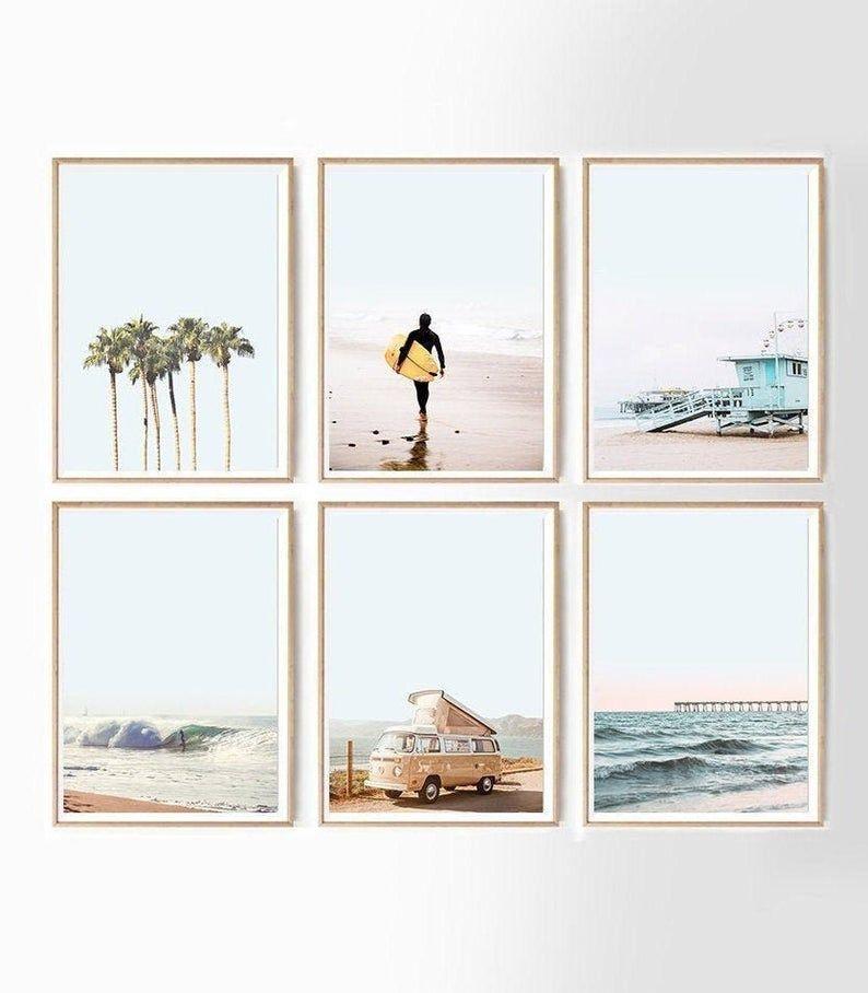 Wall Art Set Of 6 Gallery Coastal Set Boho Beach Wall Art Digital