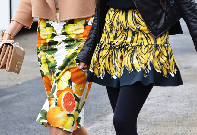 Резултат со слика за photos of FRUIT PRINT tops and skirts