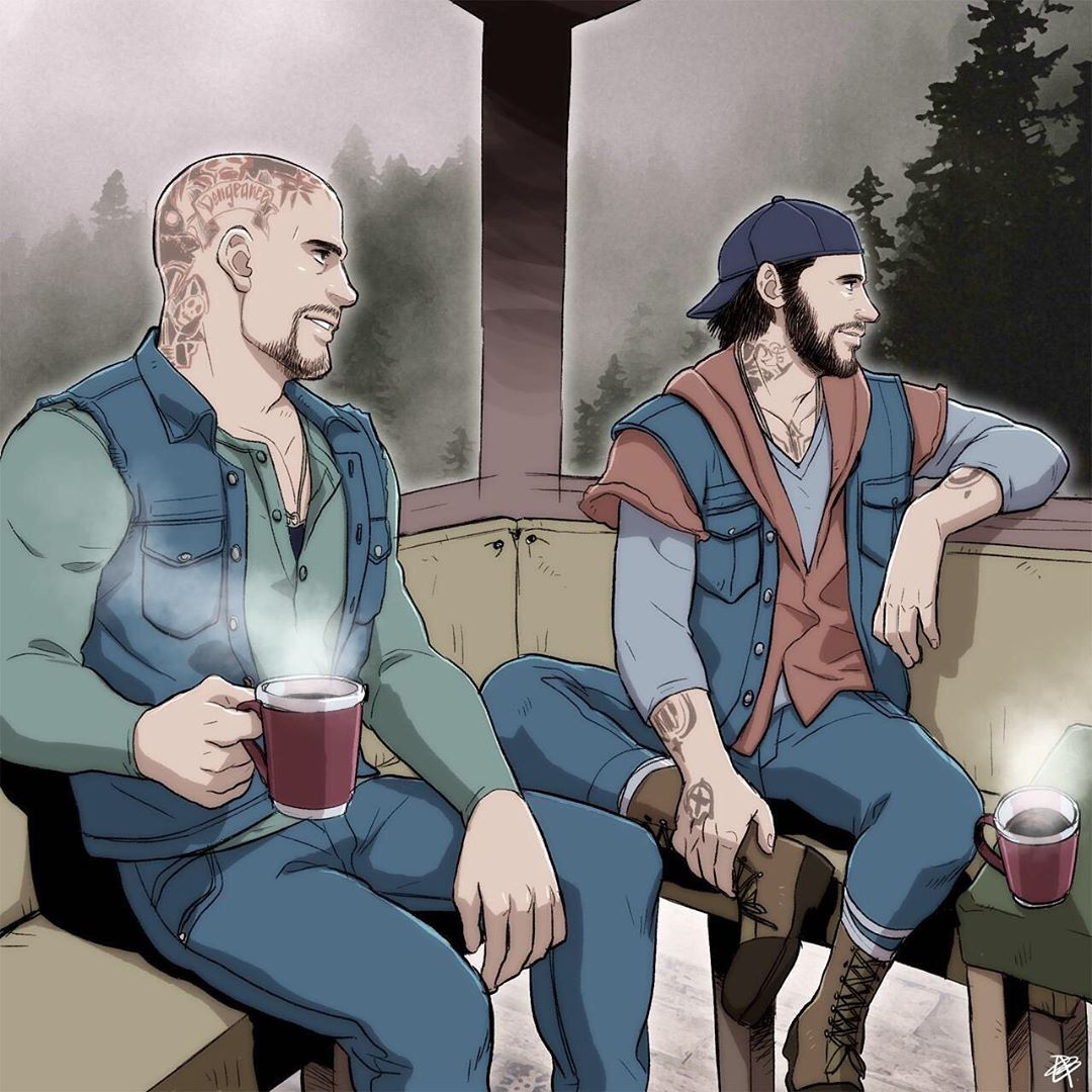 Deacon And Boozer Enjoying Some Peace At Their Safe House Huge Props To Dododoododoodle For This Fan Art Dododoododoodle Tumblr Com Fan Art Art Art Base