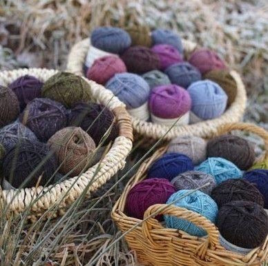 mixed balls of yarn natural and dyed