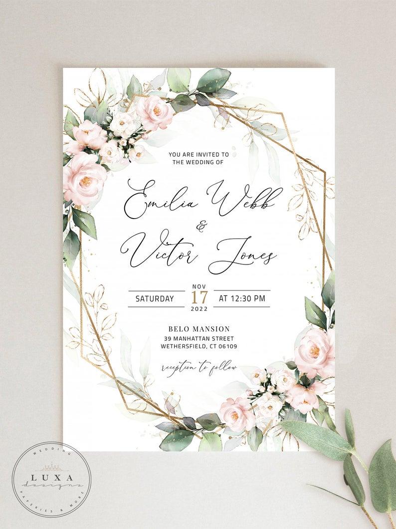 Blush and Green Wedding Invitation Set Invitation Template  Etsy
