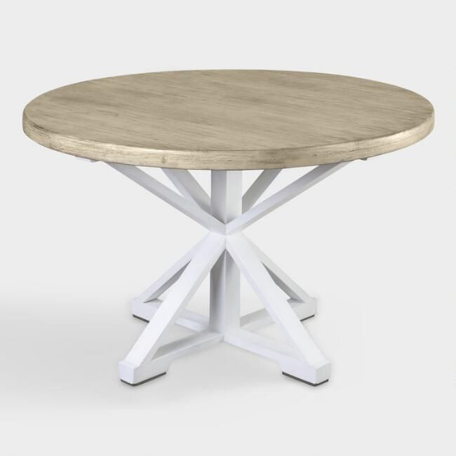 Round White Wood Joelenne Dining Table With Images Round