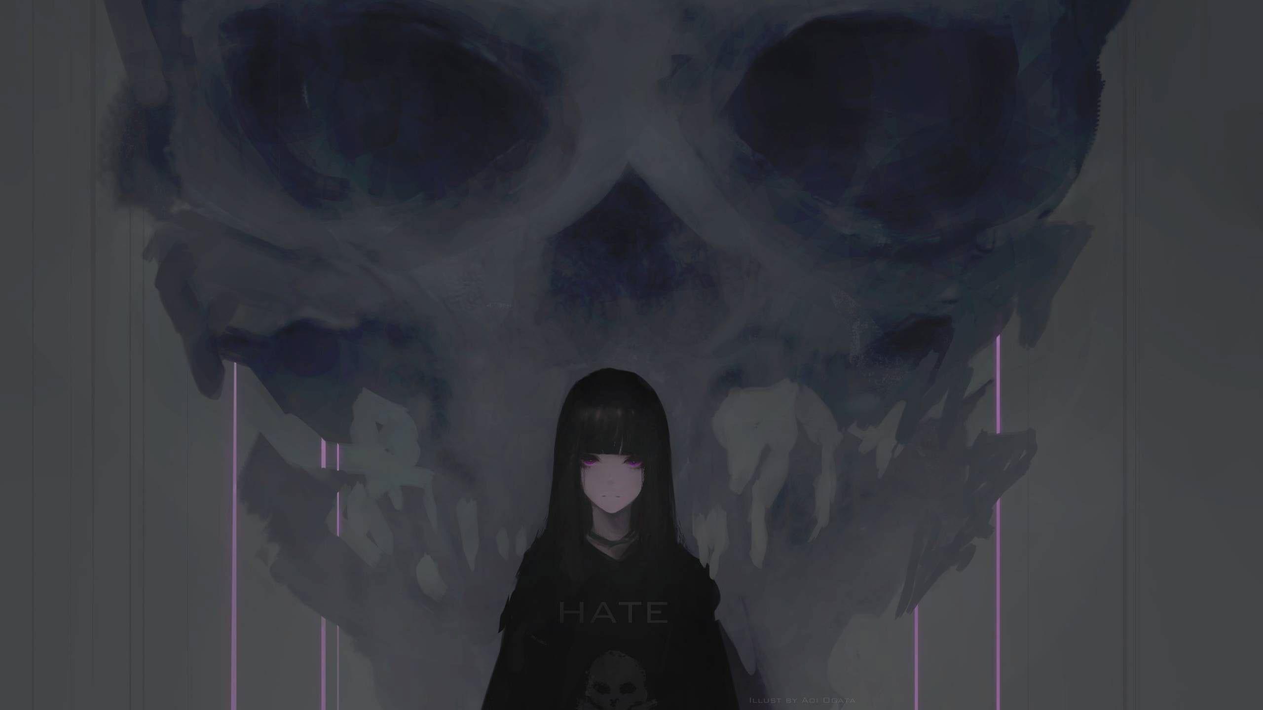 Black Haired Female Illustration Wallpaper Digital Art Artwork Aoi Ogata Anime Wallpaper Black Aesthetic Wallpaper Dark Anime Dark anime ipad wallpaper