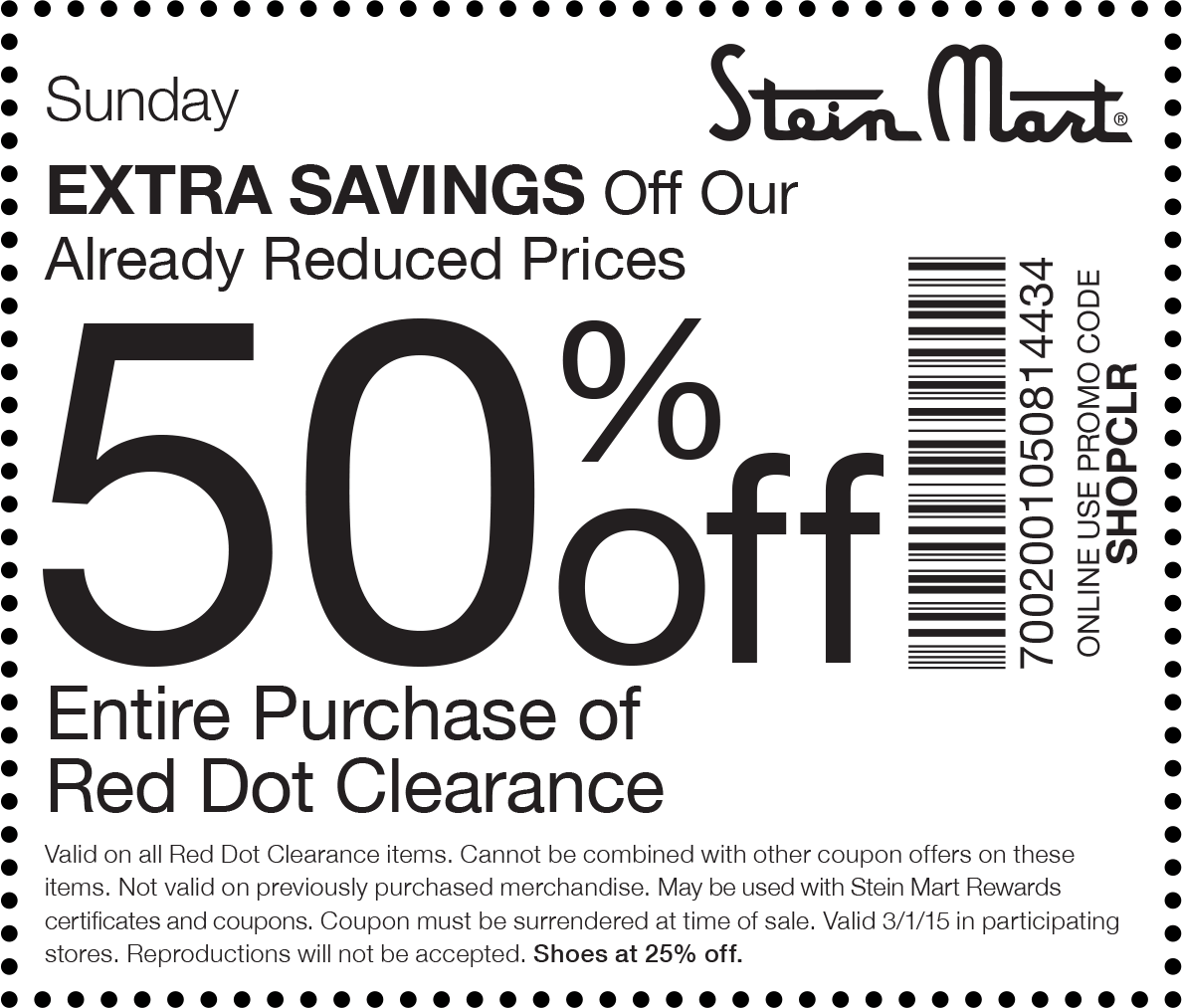 photo regarding Stein Mart in Store Printable Coupons called Pinned March 1st: Additional 50% off crimson dot clearance presently at