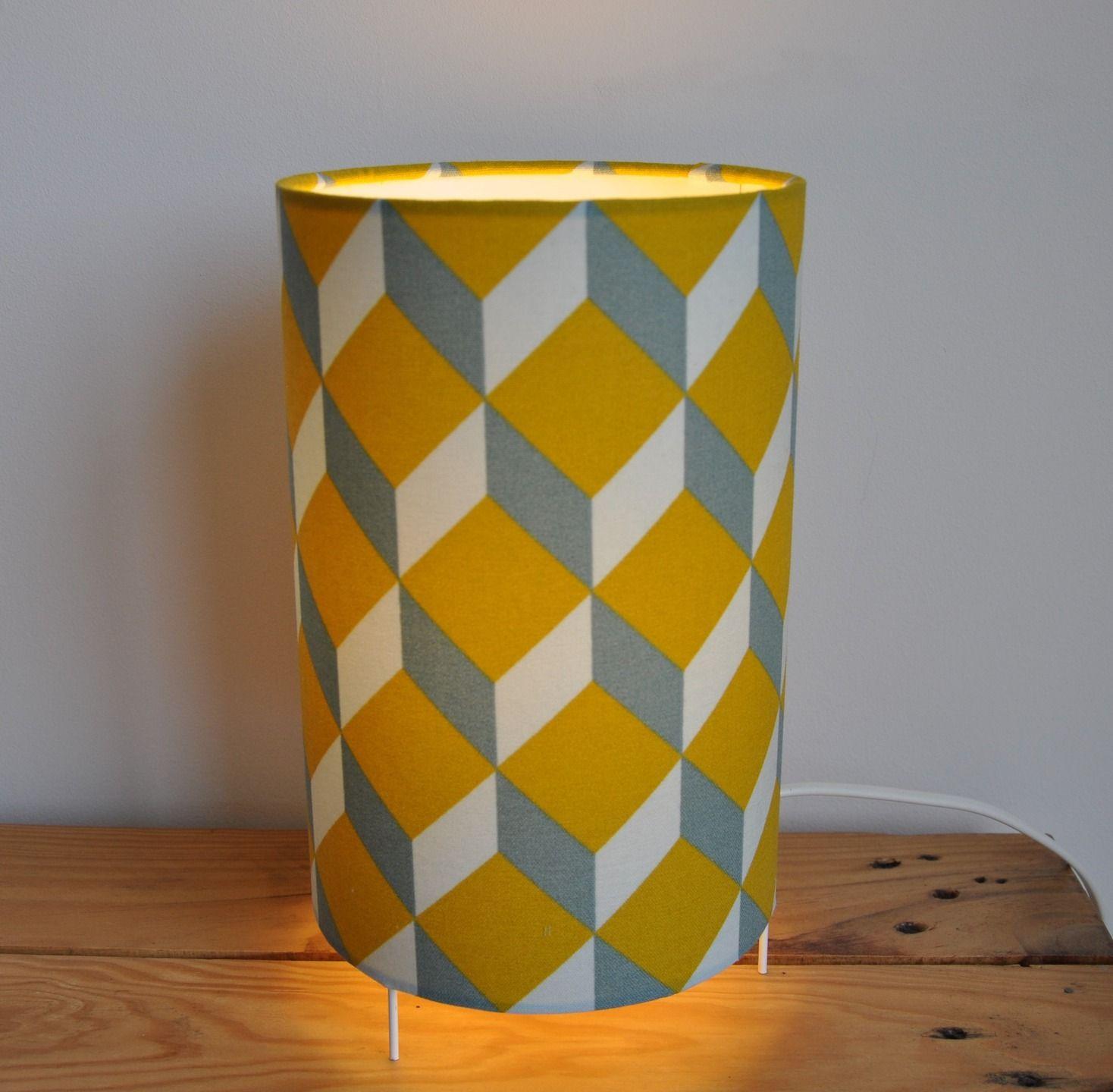 Lampe Style Scandinave Tissu Cube Moutarde Bleu Girs Lampe A