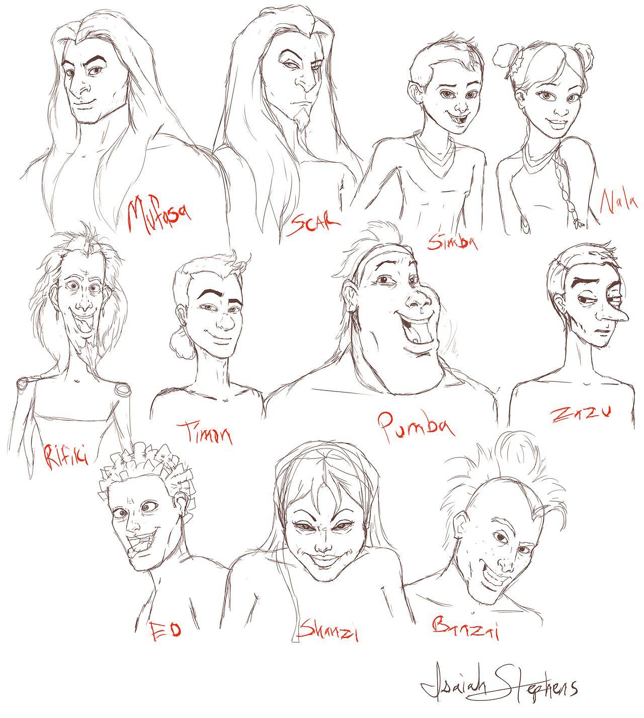"""humanized"""" lion king sketch dump - isaiah stephens they need an"""