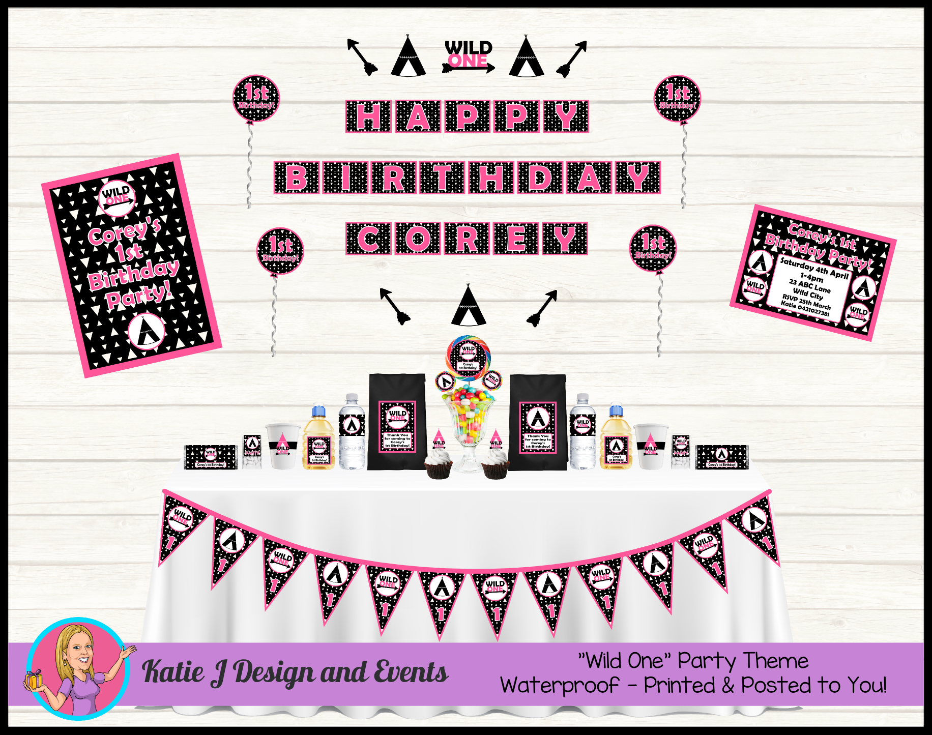 Monochrome Wild One Personalised Birthday Party Decorations Supplies Packs Shop Online Australia Banners Bunting Wall Display