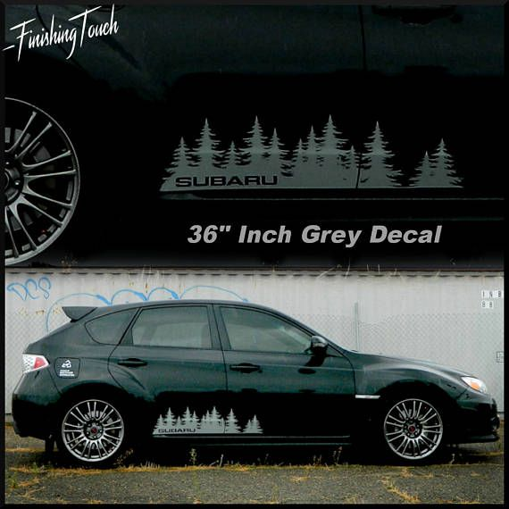 Subaru Decal Custom Vinyl Door Graphic Forest Silhouette Tree - Custom vinyl decals edmonton