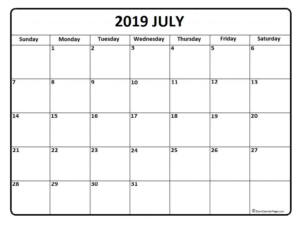 July 2019 Calendar Editable Calendar Monthly Calendar