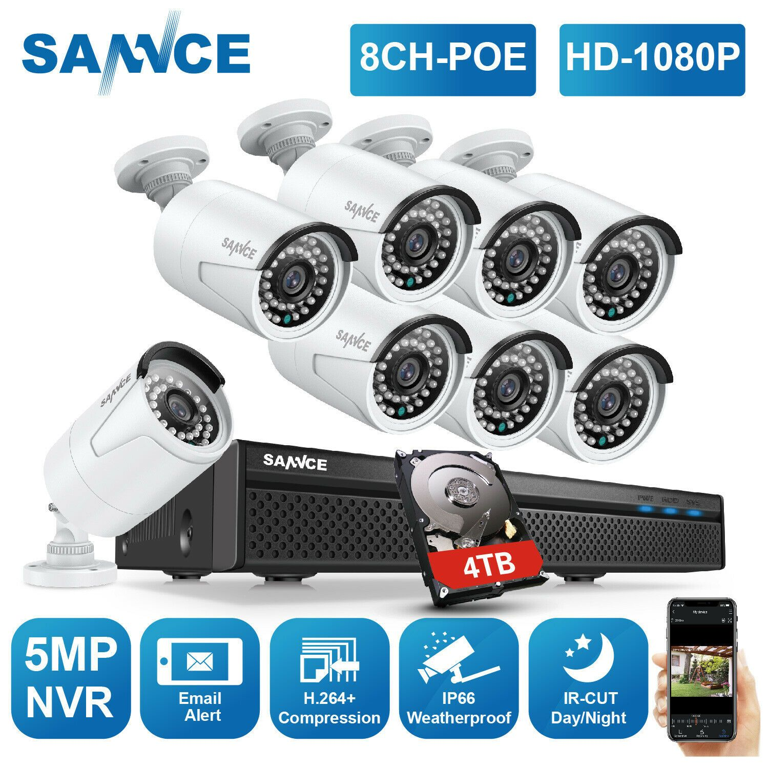 KKmoon 8CH 1080P 5In1 AHD TVL DVR 8X 720P Waterproof Bullet CCTV Camera Kit Z2I6