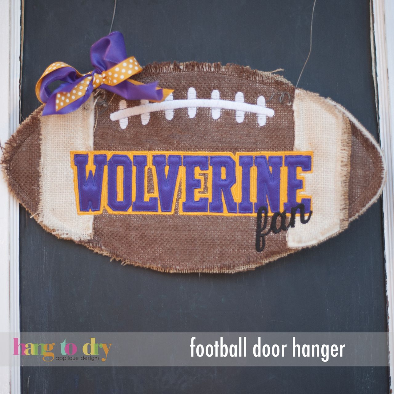 Hang to Dry Applique - Football Door Hanger, $5.99 (http://www.hangtodryapplique.com/football-door-hanger/)