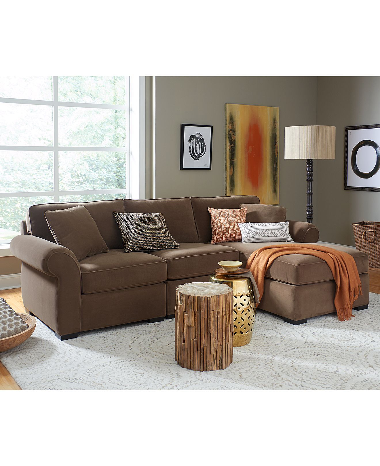Trevor fabric sectional living room furniture in mocha color 6 piece chaise sectional not pictured here on sale for 2399 00 reg 2999 00 macys