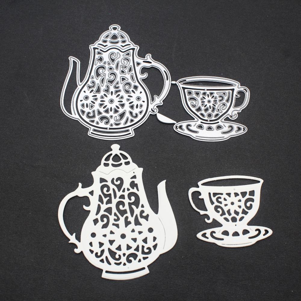 DIY Tea Cup Metal Cutting Dies Cut Stencils for Scrapbooking Embossing