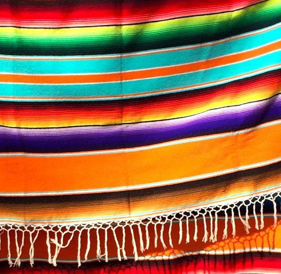 Vintage Orange Saltillo Blanket Mexican Rainbow Colors