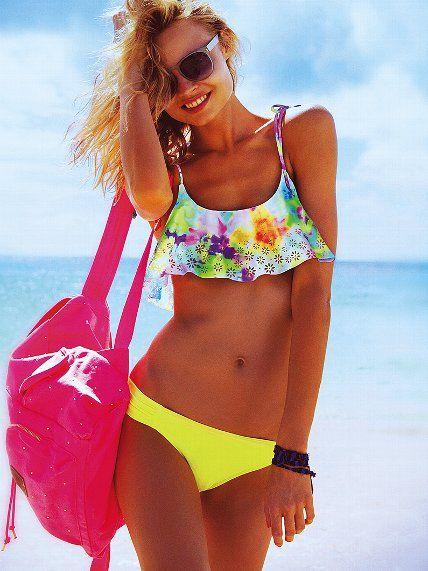 167262ff83373 Flounce Crop Top - PINK - Victoria's Secret Summer Bathing Suits, Summer  Suits, Summer