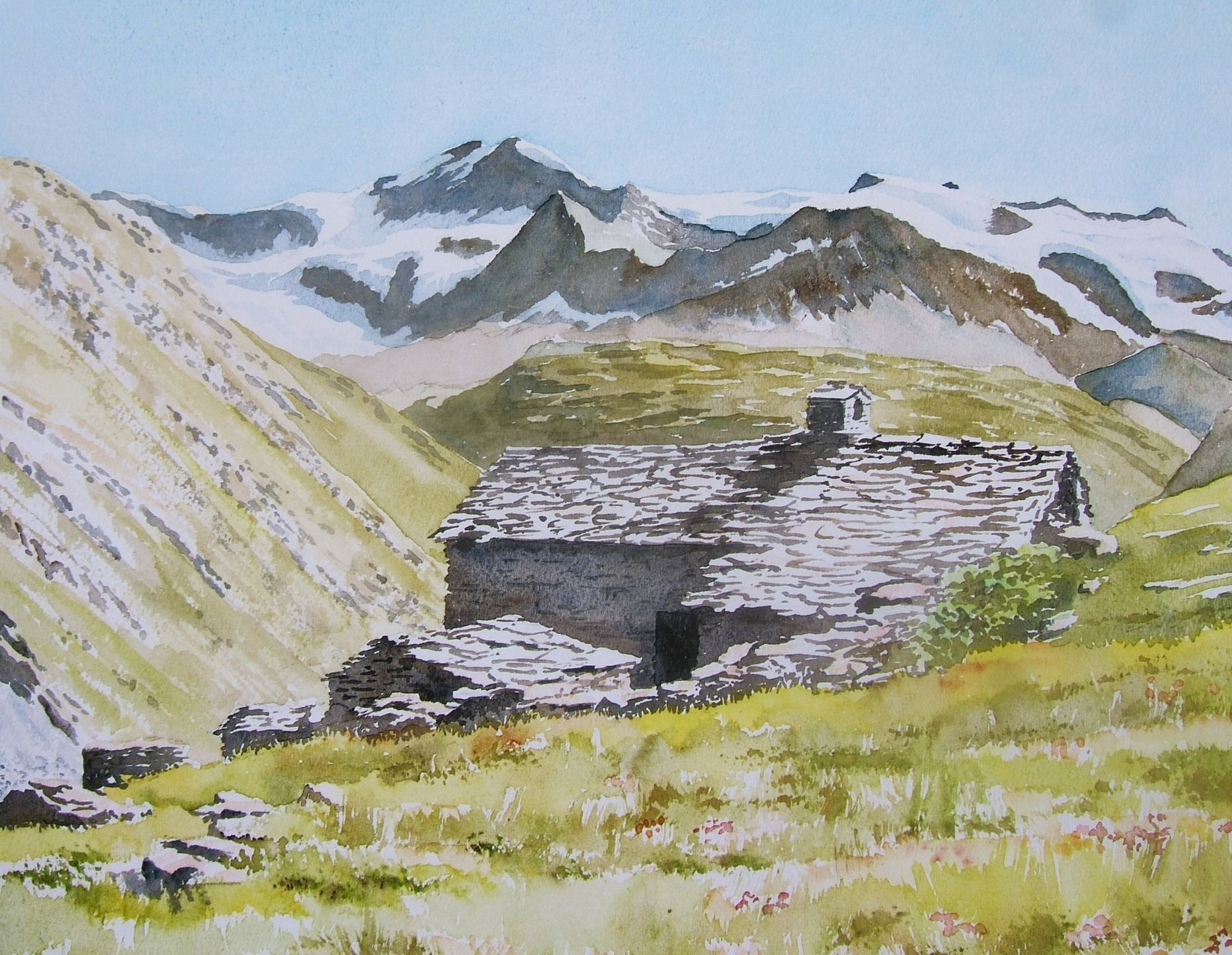 Watercolor Reproduction An Alpine Chalet In The Vanoi Massif