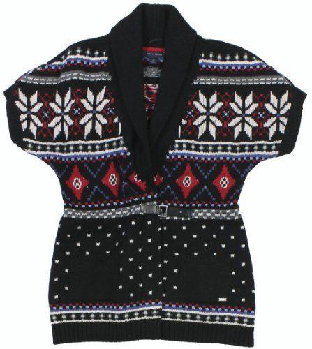 Tommy Hilfiger Women's Fairisle Buckle Front Cardigan Sweater (Deep Knit Black/Multi) Tommy Hilfiger. $80.55