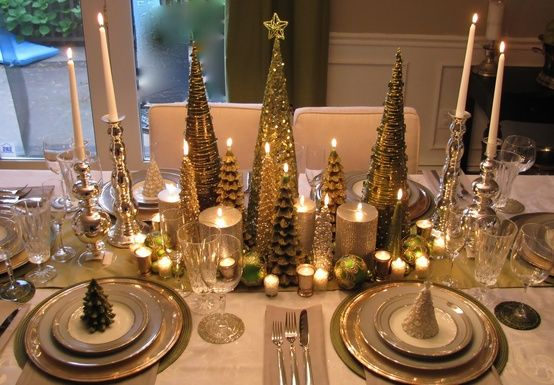 Christmas Table Decorations Using Lots Of Different Size Candles And Christmas Tree Decor Christmas Centerpieces Christmas Dining Table Holiday Table Settings