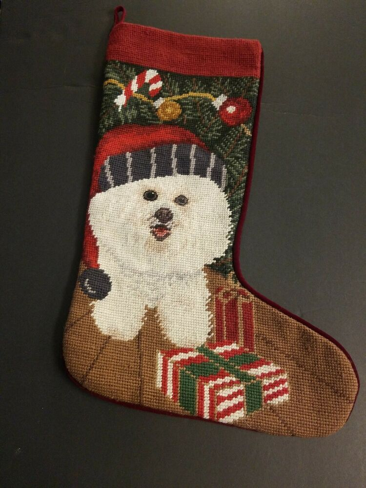Finished White Dog Christmas Needlepoint Kit Stocking