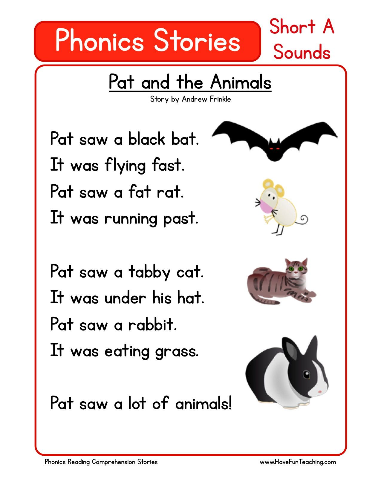 Reading Comprehension Worksheet Pat And The Animals Preschool Reading Reading Comprehension Phonics Reading [ 1650 x 1275 Pixel ]