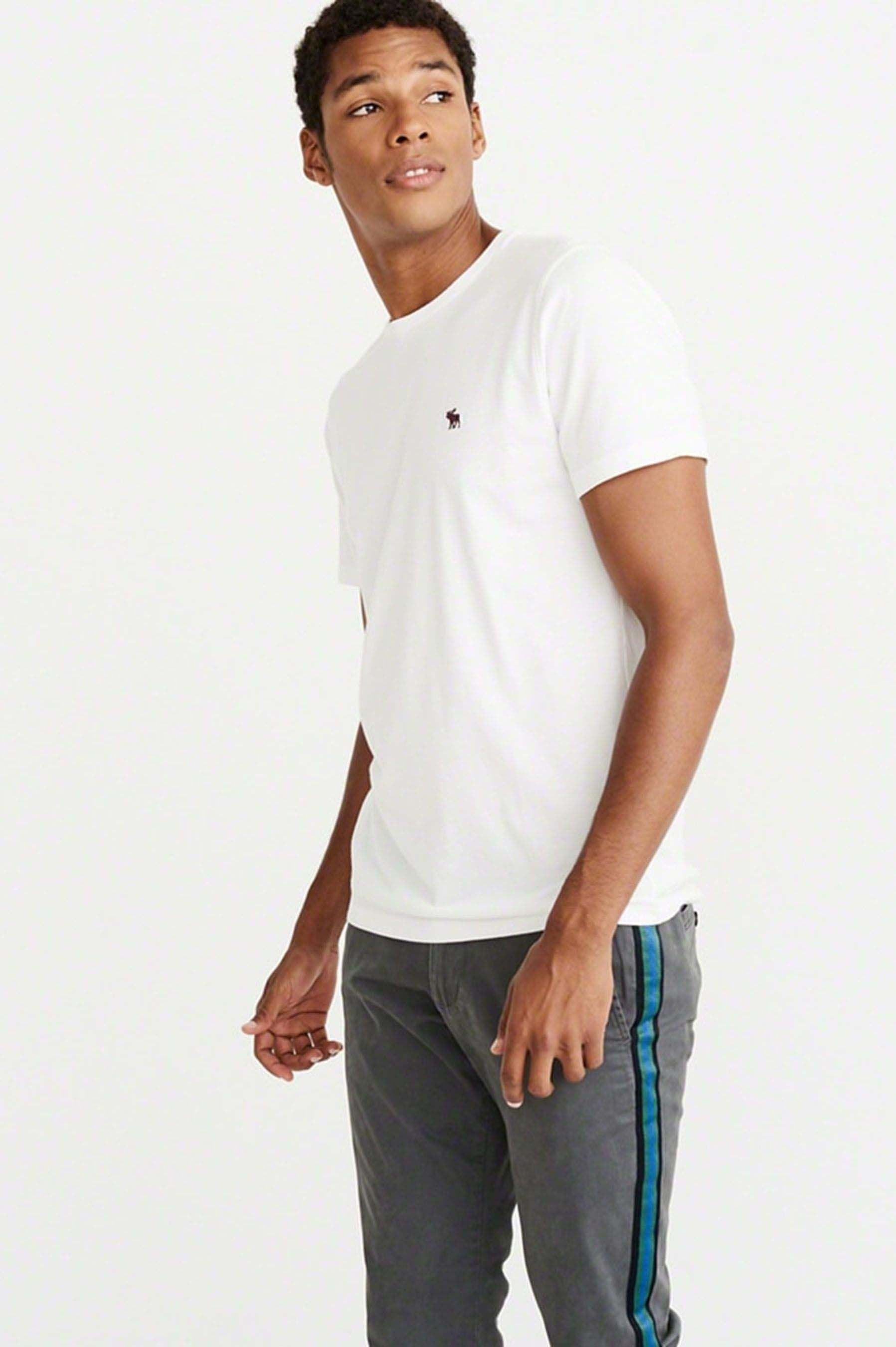 e1c307d2a8b5b2 Mens Abercrombie & Fitch Icon Tee - White | Abercrombie & Fitch ...