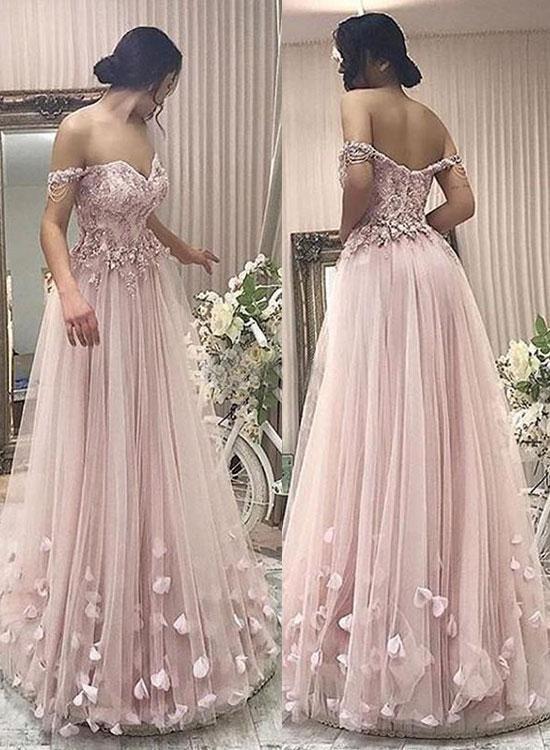 436d4205f32 Pink tulle off shoulder long prom dress
