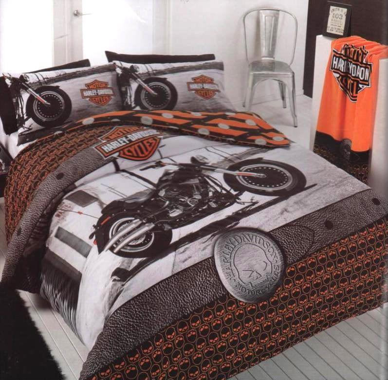 Harley Davidson Motorbike Double Quilt Doona Cover Set Harley Davidson Decor Harley Davidson Bedding Davidson Homes