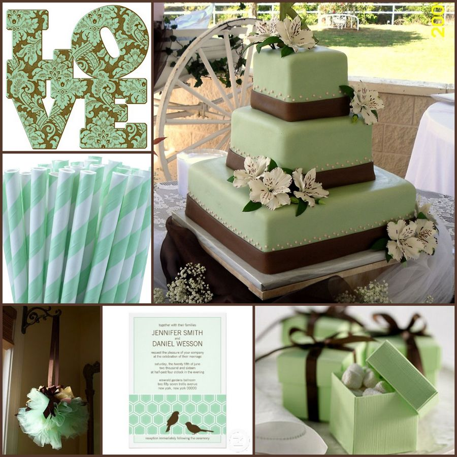 Brown And Mint Wedding Stubby Holders