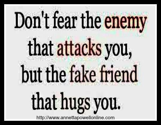 Don T Fear The Enemy That Attacks You But The Fake Friend That Hugs You Words Of Encouragement Fake Friends Favorite Quotes