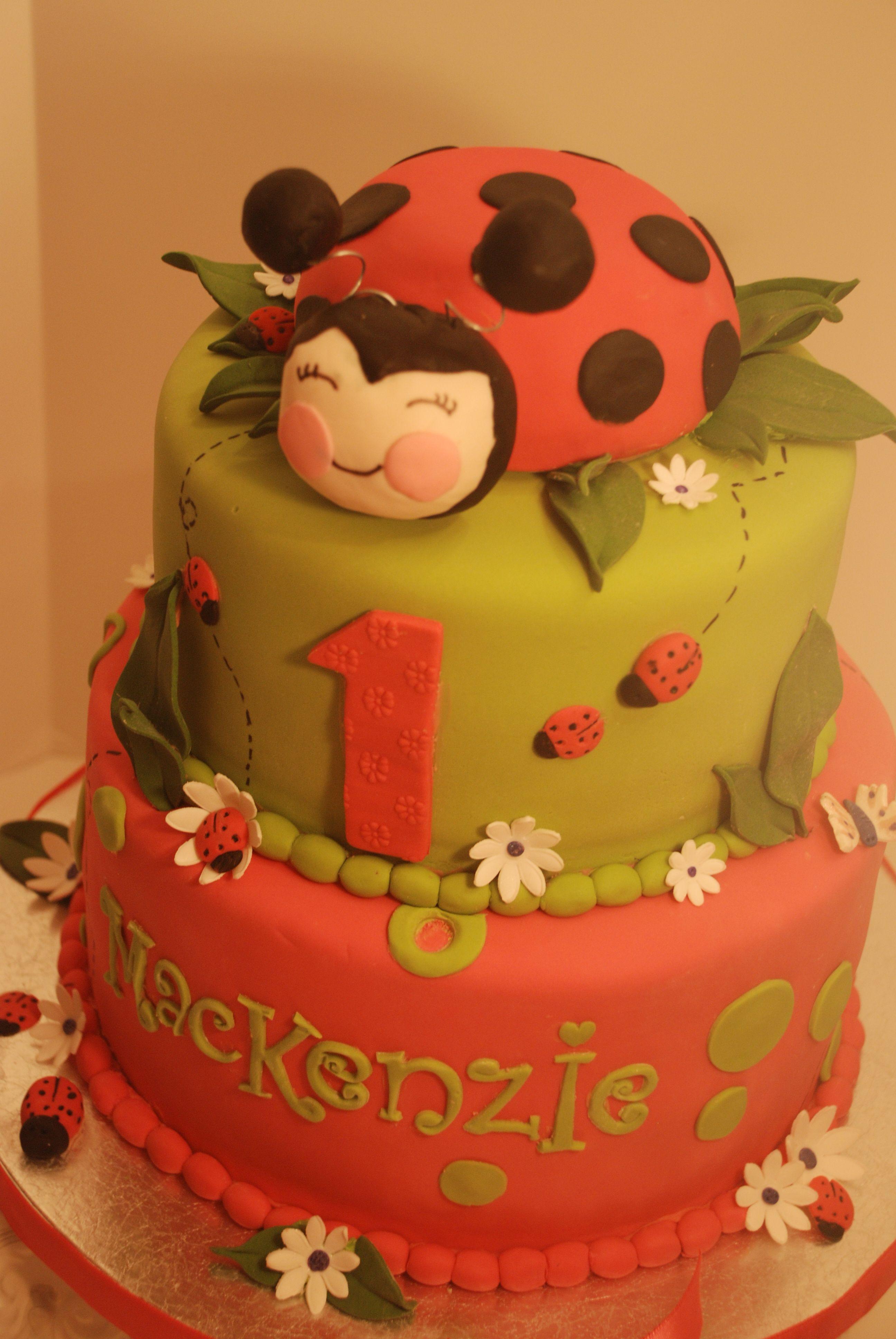 Cakesbykirsten. Happy 1st birthday Mackenzie! Ladybugcake