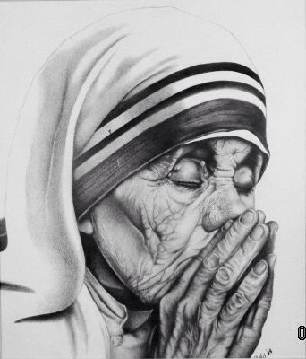 Mother teresa pencil drawing