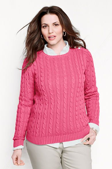 d81f300427af Women's Long Sleeve Drifter Cable Crew Sweater from Lands' End ...