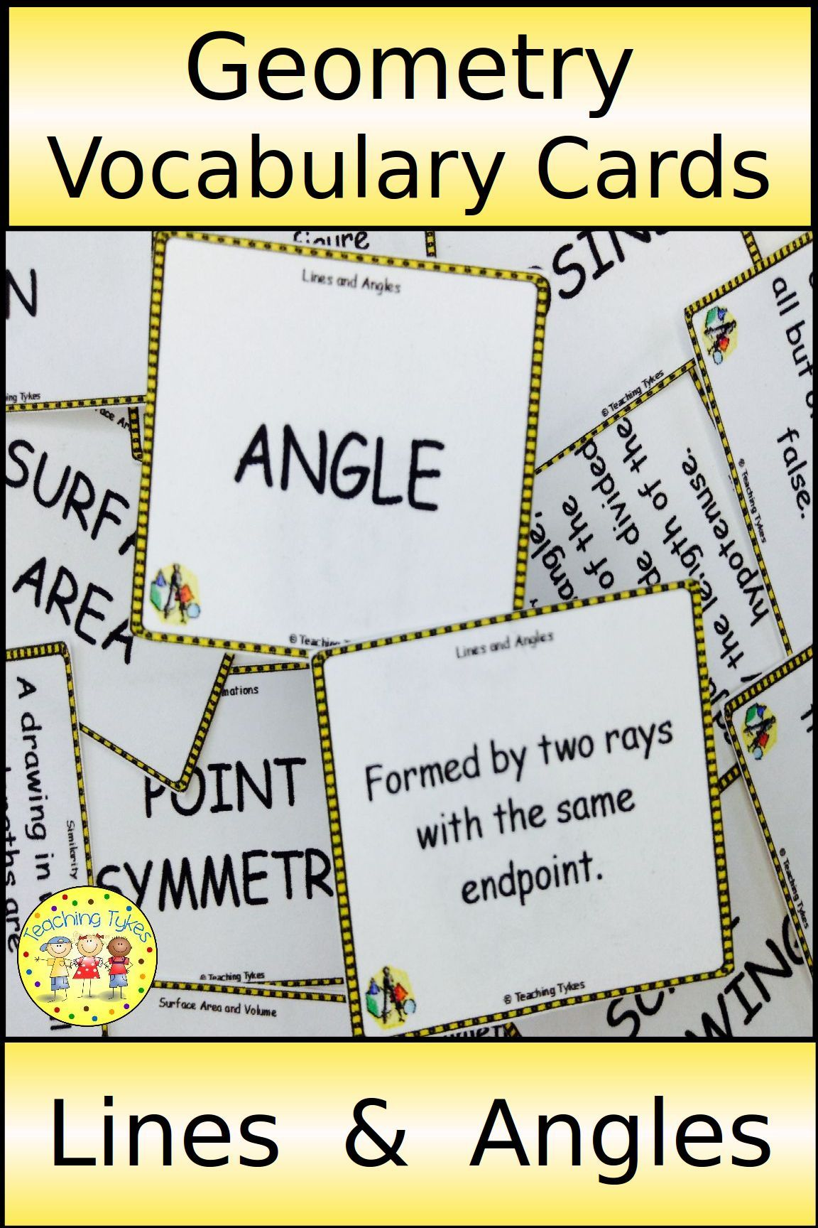 Geometry Vocabulary Cards For Flashcards Word Walls Or
