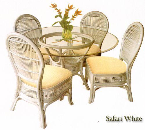 Safari Whitewash Wicker Dining Room Set Beachcraft Furniture Series 9010