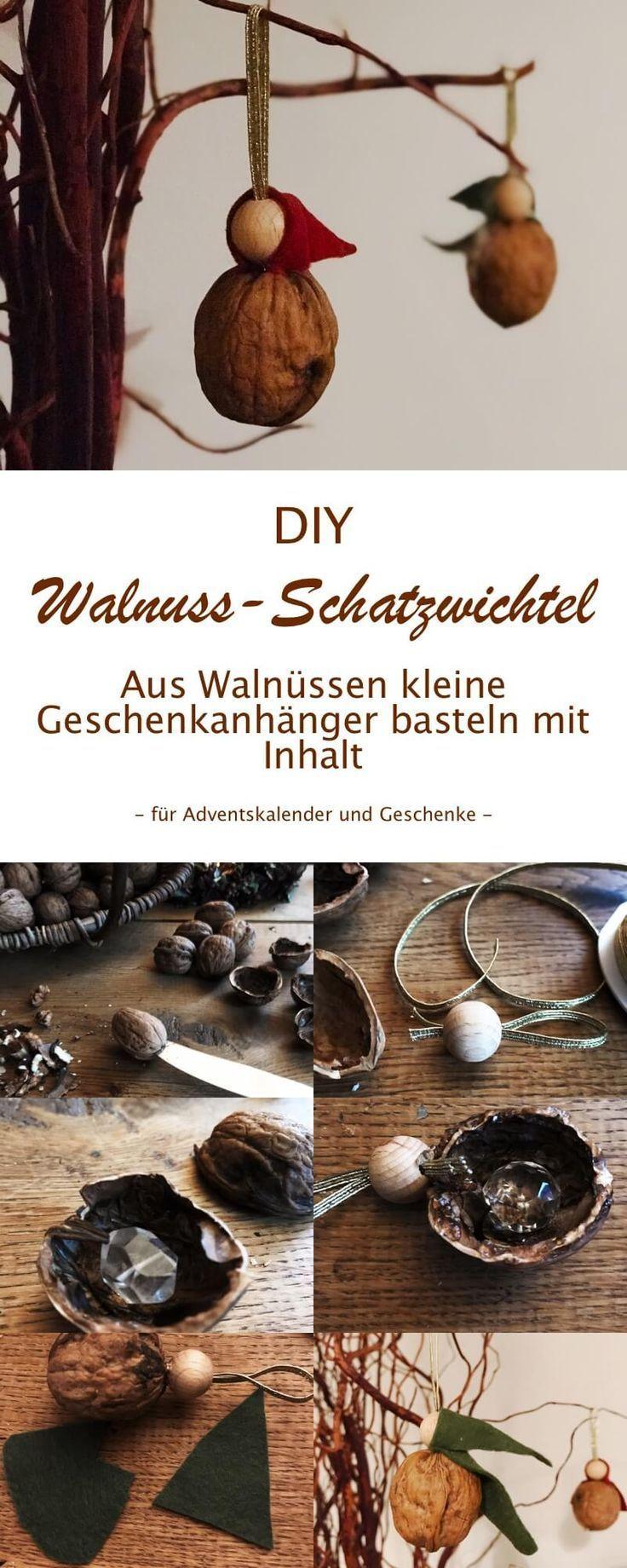 Schätze aus Walnussschalen zum Basteln von Adventskalendern oder Geschenkanhänger