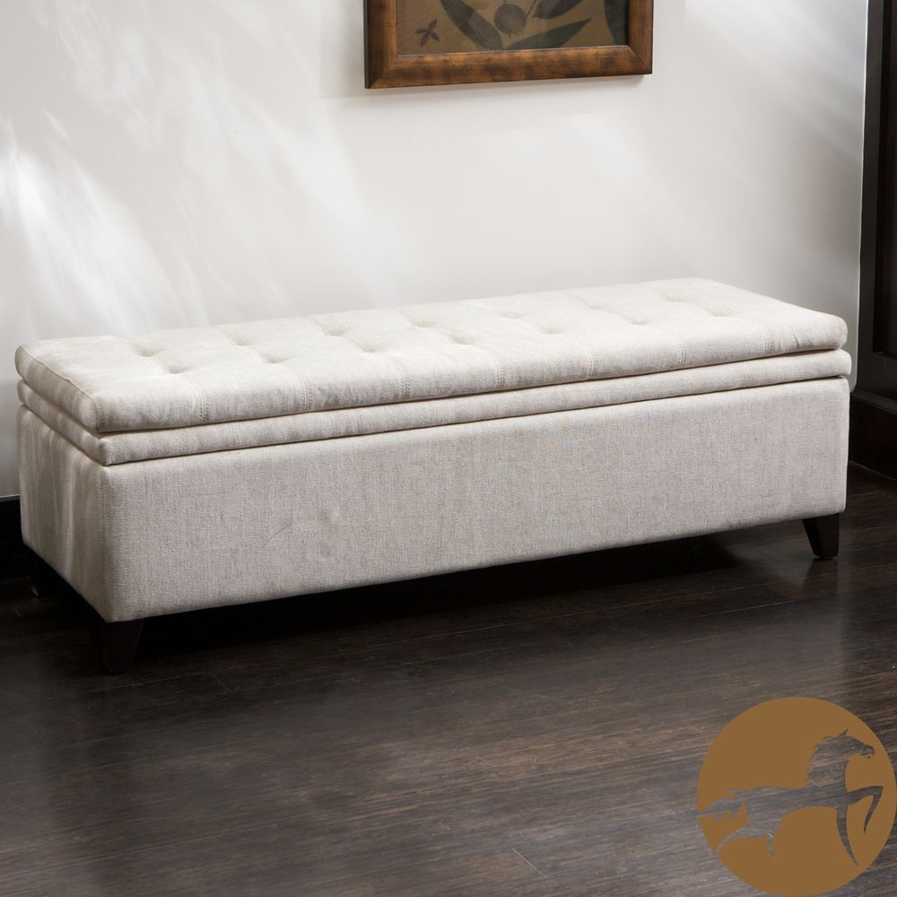 Brighton Ivory Linen Storage Ottoman by Christopher Knight Home by