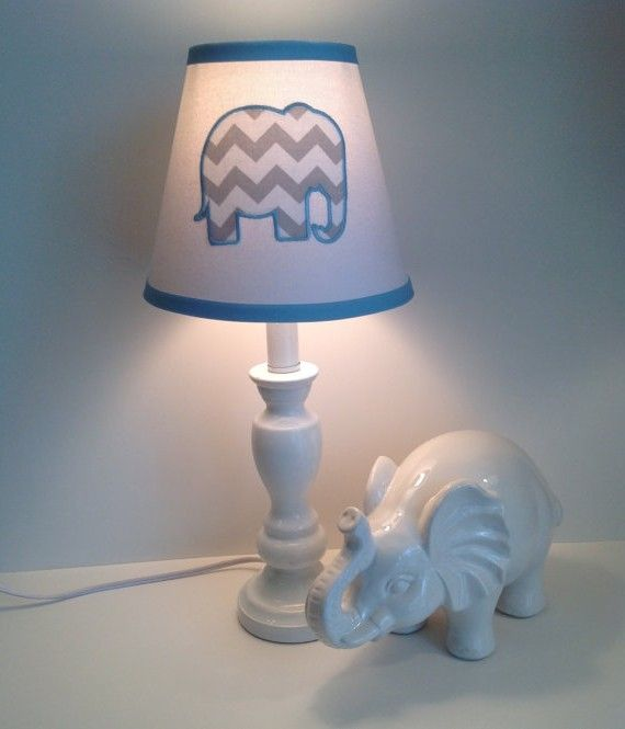 Gray Elephant Lamp For Nursery