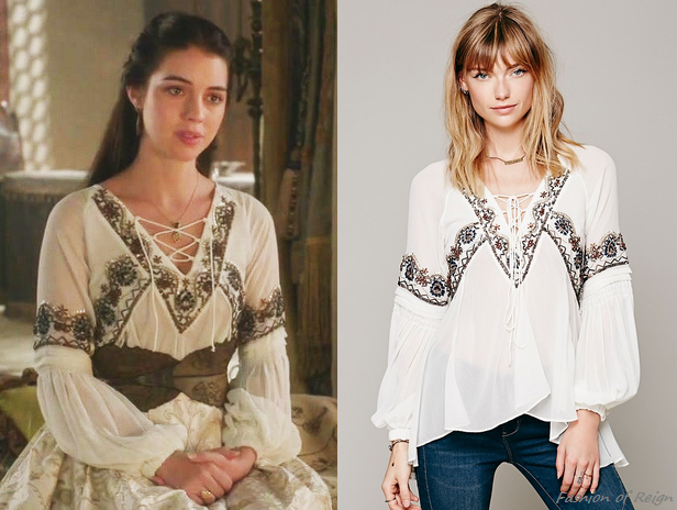 """In the episode 2x04 (""""The Lamb and the Slaughter"""") Queen Mary wears this sold out Free People Paths of Fancy Blouse in White. Worn withGillian Steinhardtlabyrinthandsignetrings. Does the blouse look familiar? :) Mary wore the same one in black in the tenth episode."""