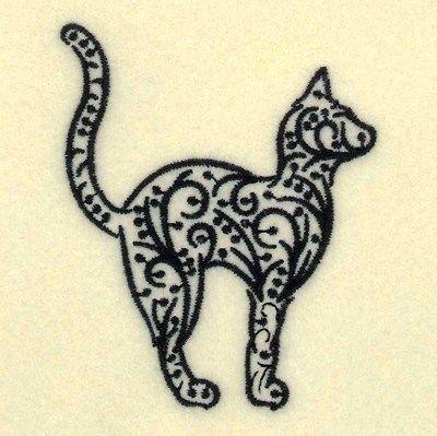 Filigree Black Cat Embroidery Design Animal Henna Designs Embroidery Tattoo Cat Embroidery Design