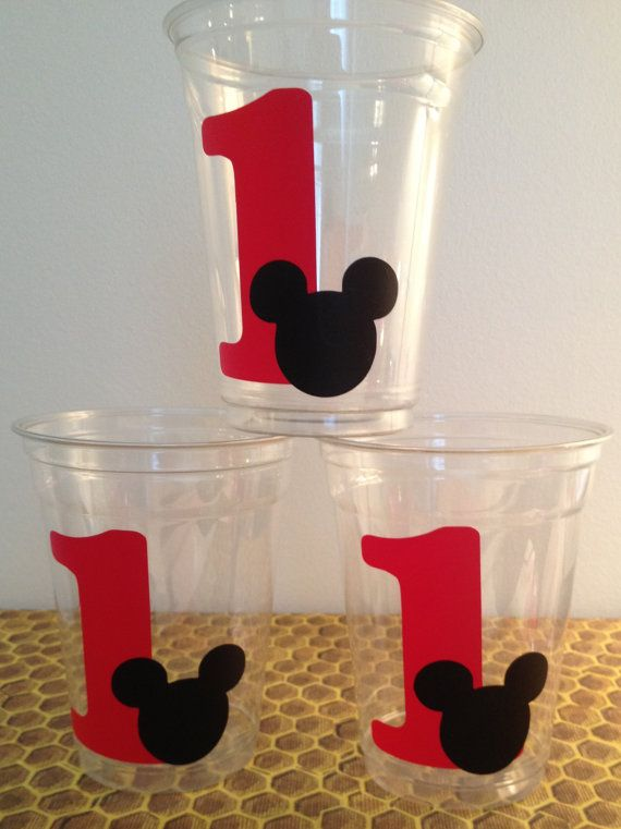 12 Mickey Mouse with Age Party Cups Mickey Mouse Birthday