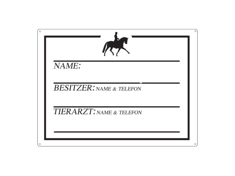 Shabby Blechschild Pferdebox Schild Dressurreiter Pferdeboxen Pferd Boxenschild