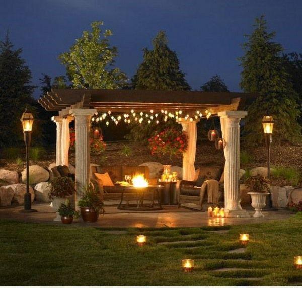 exterior garten pergola ideen beleuchtung laternen kamin Garten - gartenkamin selber bauen