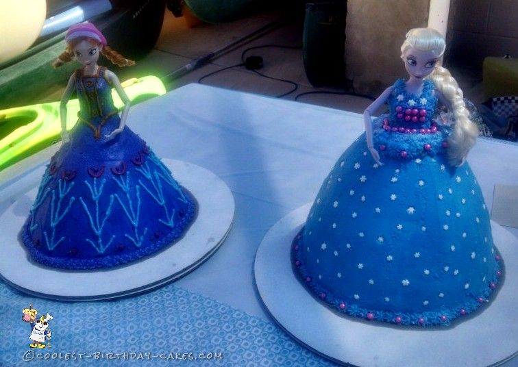 Easy Frozen Anna and Elsa Doll Cakes Elsa doll cake Elsa and Dolls