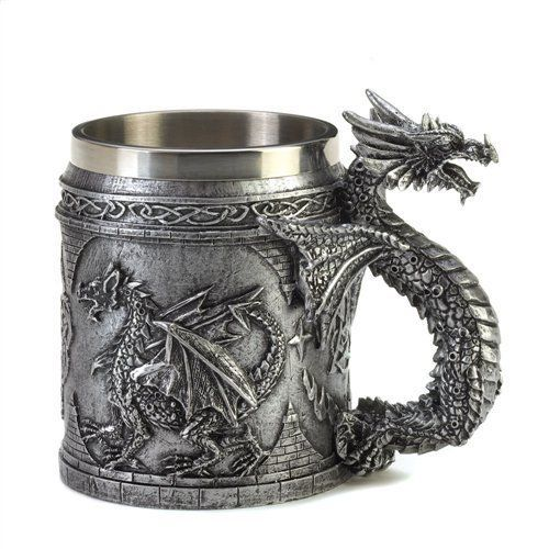 "Serpentine Dragon Mug with Stainless Steel 4.5"" Tall #10015132 #Unbranded"