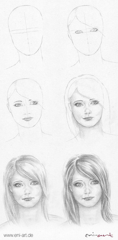 Gesicht Zeichnen Schritt Fur Schritt Diy Face Pencil Art Drawings Pencil Portrait Face Drawing