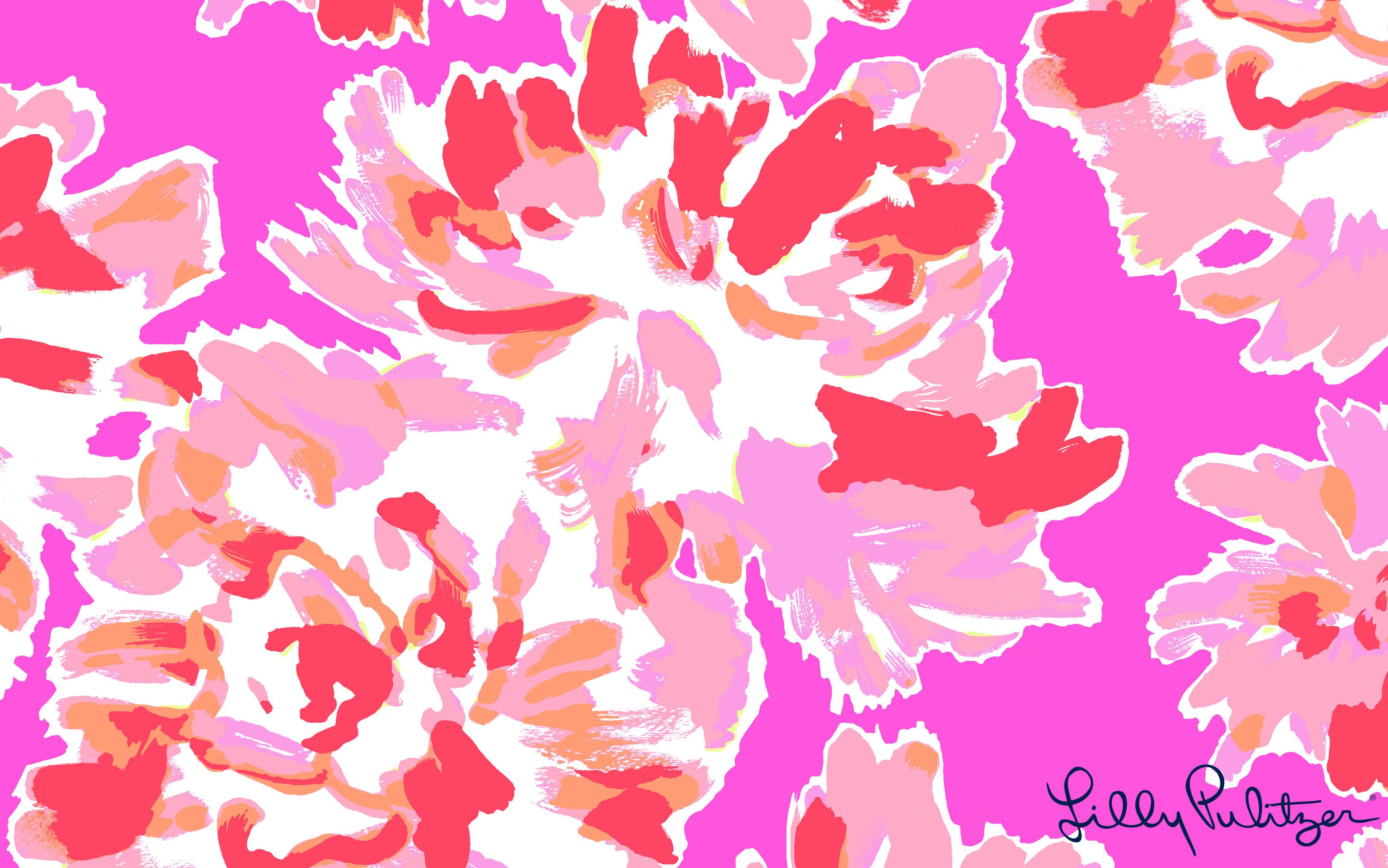 Lilly Pulitzer./ pink Serenade floral desktop Wallpaper ...