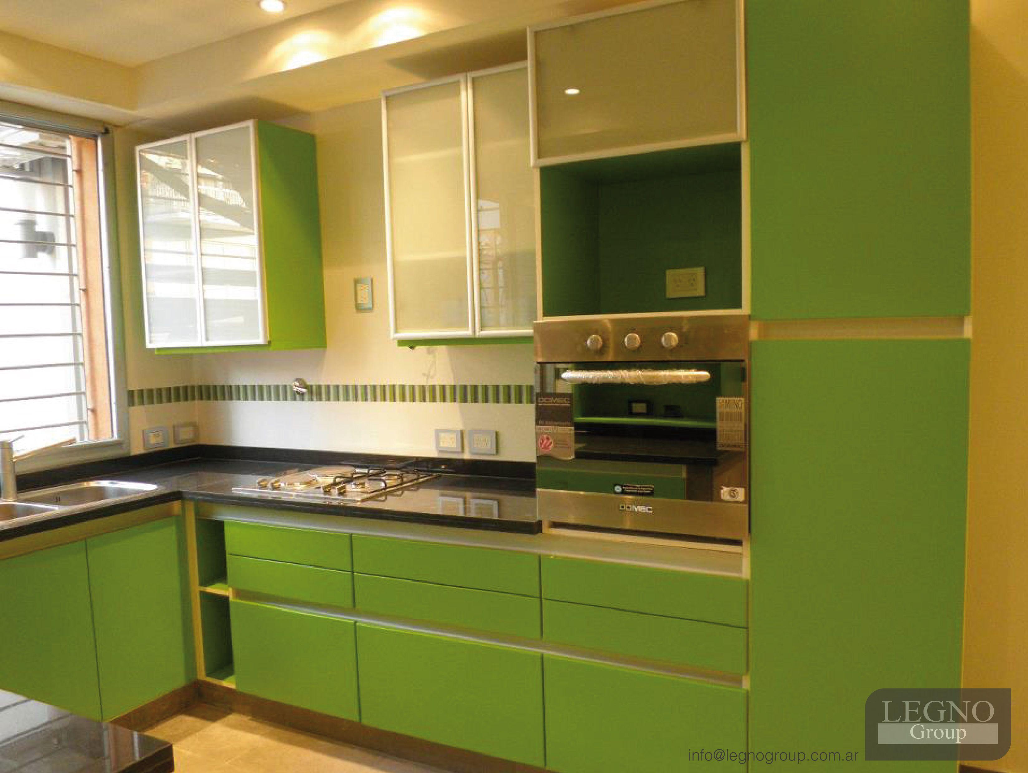 cocina modelo moon laqueado satinado verde contactanos para disear y fabricar tu proyecto
